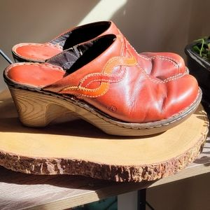 Joseph Siebel Leather Rubber Heel Clog Sz 9